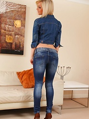 Victoria A teases her way from a full denim outfit - Erotic and nude pussy pics at GirlSoftcore.com