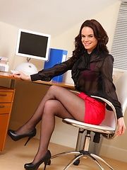 Hayley G posing in the office - Erotic and nude pussy pics at GirlSoftcore.com