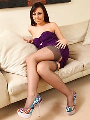 Kacie in stunning purple dress and suspenders