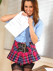 Michelle teaches a lesson in school uniform & mini skirt - Erotic and nude pussy pics at GirlSoftcore.com