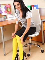 Secretary BK really stands out in these great yellow pantyhose