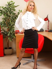 Michelle in the office with knee length skirt and grey stockings and suspenders (Non Nude) - Erotic and nude pussy pics at GirlSoftcore.com