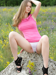 Amazing blonde teen chick tries the nude posing in a calm environment. If want to know have she enjoyed, just look at her face. - Erotic and nude pussy pics at GirlSoftcore.com
