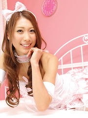 Reika Miki Asian in pink fluffy lingerie is always smiling queen - Erotic and nude pussy pics at GirlSoftcore.com