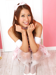 Reika Miki Asian is such cute kitten in white fluffy lingerie - Erotic and nude pussy pics at GirlSoftcore.com