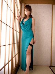 Ayaka Noda Asian shows sexy legs and ass under long blue dress - Erotic and nude pussy pics at GirlSoftcore.com