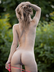 Yani A slowly strips off her pink bikini to take a naked dip in the pool. Feast your eyes on her lovely tan lines. - Erotic and nude pussy pics at GirlSoftcore.com