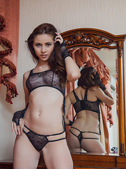 Red Fox feeling sexy and alluring in her black lace lingerie with string panty that showcases her smooth, sexy butt. - Erotic and nude pussy pics at GirlSoftcore.com