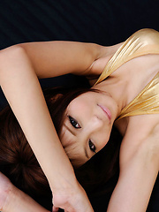 Sayuri Ono Asian touches her hot curves over golden lingerie - Erotic and nude pussy pics at GirlSoftcore.com
