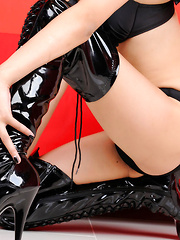 Sayuri Ono Asian is lustful bat girl in latex boots and lingerie - Erotic and nude pussy pics at GirlSoftcore.com
