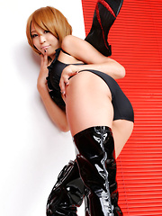 Sayuri Ono Asian is dangerous batwoman in high heels long boots - Erotic and nude pussy pics at GirlSoftcore.com