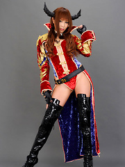 Sayuri Ono Asian poses so sexy in warrior suit and long boots - Erotic and nude pussy pics at GirlSoftcore.com