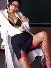 Noriko Kijima Asian is erotic doctor with red fishnets and specs - Erotic and nude pussy pics at GirlSoftcore.com