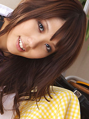 Asami Tsubaki Asian in uniform spreads legs and shows panty - Erotic and nude pussy pics at GirlSoftcore.com