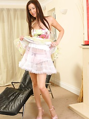 Brunette Carole wearing a beautiful and colourful summer dress. - Erotic and nude pussy pics at GirlSoftcore.com