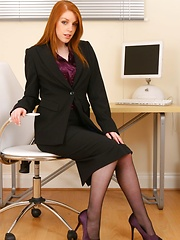 Beautiful secretary in black office suit and silk blouse. - Erotic and nude pussy pics at GirlSoftcore.com