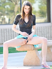 Anessa gets naked outside and does back bends - Erotic and nude pussy pics at GirlSoftcore.com