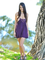 Tiffany in the park going topless - Erotic and nude pussy pics at GirlSoftcore.com