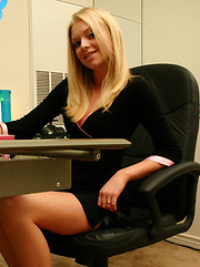 Cute teen Skye shows off her tight perfect ass in a tiny thong in the office - Erotic and nude pussy pics at GirlSoftcore.com