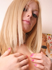 Super cute blonde teen Skye shows off her perfect body in a sexy little teddy for her valentine