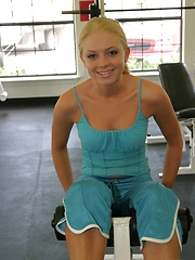 Petite blonde teen Skye keeps in shape while working out at the gym - Erotic and nude pussy pics at GirlSoftcore.com