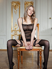 Mila I performs an exciting striptease of her sheer black ensemble - Erotic and nude pussy pics at GirlSoftcore.com