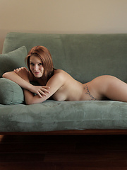 Redhead babe Abby Paradise uses soft sweet touches to warm up her needy bald pussy for a double handed finger fucking - Erotic and nude pussy pics at GirlSoftcore.com