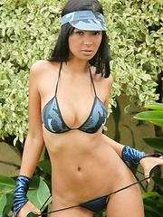 Karla strips off her blue camo outfit - Erotic and nude pussy pics at GirlSoftcore.com