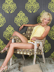 Even an armchair can be sexy and attractive when a blonde cutie likes her strips and teases in it without clothes. - Erotic and nude pussy pics at GirlSoftcore.com