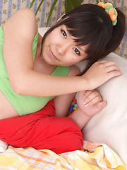 Ayana Tanigaki Asian takes clothes off while playing with balls - Erotic and nude pussy pics at GirlSoftcore.com