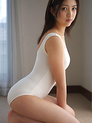 Azusa Togashi Asian doll in white bath suit wants to go outside - Erotic and nude pussy pics at GirlSoftcore.com