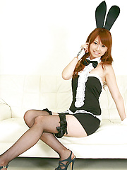 Chinatsu Sasaki Asian bunny has sexy legs in fishnet stockings - Erotic and nude pussy pics at GirlSoftcore.com