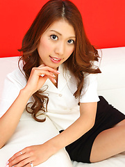 Reika Miki Asian with sexy legs shows hot behind in tight skirt