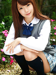 Manami Sato Asian in short uniform skirt spends time in the park - Erotic and nude pussy pics at GirlSoftcore.com
