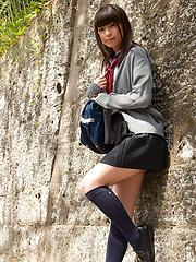 Yuuri Shiina Asian in school uniform is so cute while walking - Erotic and nude pussy pics at GirlSoftcore.com
