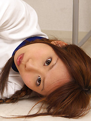 Satsuki Konichi Asian in sports equipment plays at locker room - Erotic and nude pussy pics at GirlSoftcore.com