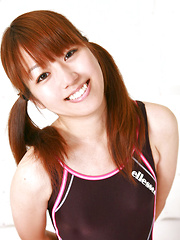 Shizuka Sakura Asian smiles and does some gym to show sexy body - Erotic and nude pussy pics at GirlSoftcore.com