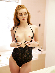 Redheaded temptress Natalie Lust takes her bald horny pussy to hot new heights with her magic fingers and vibrating toy - Erotic and nude pussy pics at GirlSoftcore.com