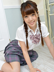 Mizuho Shiraishi Asian with sexy pigtails shows ass under skirt - Erotic and nude pussy pics at GirlSoftcore.com
