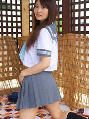 Misaki Nito Asian in school uniform goes to classes riding bike - Erotic and nude pussy pics at GirlSoftcore.com