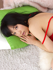 Yuri Hamada Asian with big assets in red lingerie is leering doll - Erotic and nude pussy pics at GirlSoftcore.com