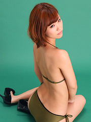 Ichika Nishimura Asian in bath suit shows body in stretching - Erotic and nude pussy pics at GirlSoftcore.com