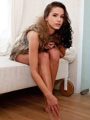 Diana G undress her luxuriant fur coat and delicate lace panty, revealing her athletic physic with perfectly tanned complexion and flexible limbs.