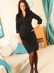 Tiffany knows exactly how to impress her boss and brightens his day with a sexy striptease out of smart mini skirt suit. (Non Nude)