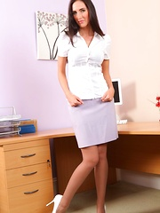 Sassy secretary in a tight white blouse and lilac pencil skirt. - Erotic and nude pussy pics at GirlSoftcore.com