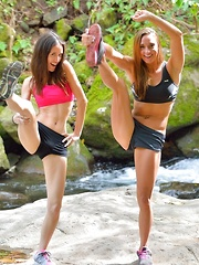 Mary and Aubrey Hiking the Lao Valley - Erotic and nude pussy pics at GirlSoftcore.com