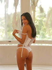 Franchesca Colucci is a sexy slender latina who wears her white lingerie perfectly and looks even better as she takes it off - Erotic and nude pussy pics at GirlSoftcore.com