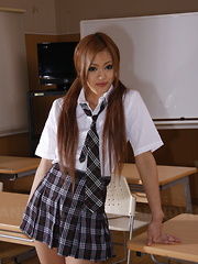 Teen An Umemiya shows her undies in class - Erotic and nude pussy pics at GirlSoftcore.com