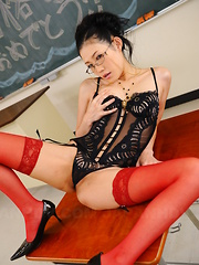 Lusty Yui Komine shows her lingerie in class - Erotic and nude pussy pics at GirlSoftcore.com