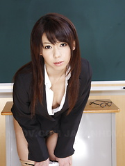 Teacher Maho Sawai shows her slit in class - Erotic and nude pussy pics at GirlSoftcore.com